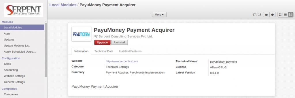 Odoo PayUmoney integration