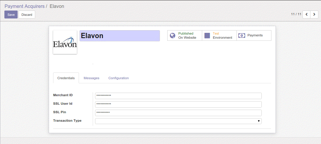 Elavon-Odoo Payment Gateway Integration
