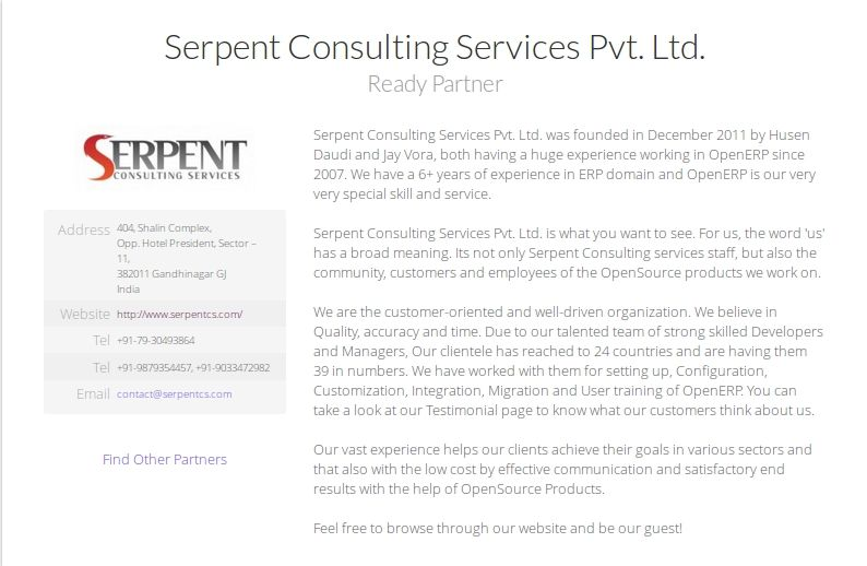 Serpent Consulting Services Pvt. Ltd. Partners with OpenERP