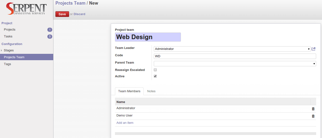Odoo Module : Set your teams while starting Projects